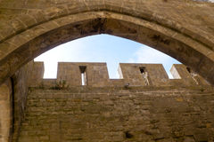Tower in Carcassonne city view through a window Stock Images