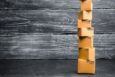 A tower of cardboard boxe. The concept of online sales, shopping and online shopping. Realization of goods and services through. The Internet. buying and royalty free stock photo