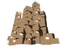 Tower of cartons Royalty Free Stock Photography