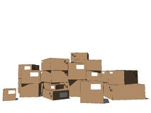 Tower of cartons Royalty Free Stock Image