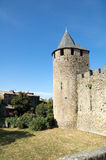 Tower of the castle 2. Towers and pit of the Castle of the Cite of Carcassonne during a sunny morning royalty free stock photos
