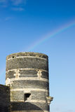 Tower of castle of Angers under rainbow, France Royalty Free Stock Photo