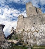 Tower of The Castle of Beckov. Ruined castle of Beckov situated in village Beckov in the western Slovakia in Trencin region. The Castle of Beckov is opened to Royalty Free Stock Image