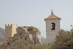 Tower of the castle and bell tower on el castell de guadalest Stock Image