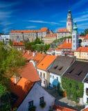 Tower and castle in Cesky Krumlov Stock Photos