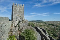 Tower of the castle of Sortelha. Portugal. Romanesque style medieval castle in the Sabugal municipality. Distrito de Guarda, As Beiras Region. Portugal stock photos