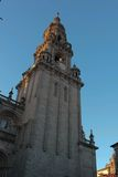 Tower of Cathedral. Tower with clock  in Santiago de Compostela cathedral Stock Photos