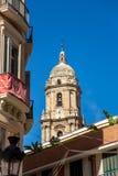 Tower of cathedral de la Encarnación de Málaga. View of a tower of cathedral de la Encarnación de Málaga from streets , Spain Stock Photos