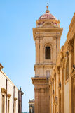 Tower of Cathedral in Noto city Stock Photos