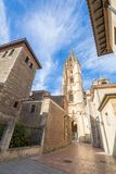 Tower of cathedral in Oviedo city Stock Images