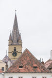 Tower Cathedral  , Sibiu. Evanghelical Lutheran Cathedral bottom view from different angle Royalty Free Stock Photos