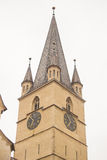 Tower Cathedral  , Sibiu. Evanghelical Lutheran Cathedral bottom view from different angle 2 Royalty Free Stock Photos