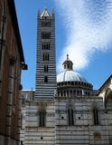 The tower of the cathedral of Siena stock photo
