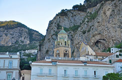 Tower of the Cathedral of St. Andrew in Amalfi. In evening colors Royalty Free Stock Images