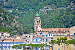 Tower of the Cathedral of St. Andrew in Amalfi. In morning bright colors Royalty Free Stock Photos