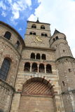 Tower of cathedral in Trier, Germany. Main tower and clock of the cathedral in Trier, Germany stock photo