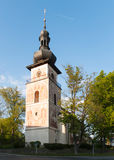 Tower of catholic church of Saint Cunigunde in Czech republic. Catholic Church of Saint Cunigunde in Nove Mesto na Morave, Czech republic Stock Photos