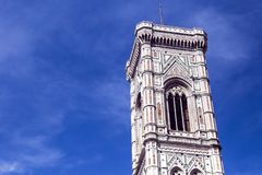 The tower of the Cattedrale di Santa Maria del Fiore. Cathedral of Saint Mary of the Flower in Florence Royalty Free Stock Images