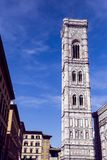 The tower of the Cattedrale di Santa Maria del Fiore. Cathedral of Saint Mary of the Flower in Florence Royalty Free Stock Photos