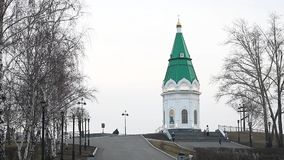 The tower in the center of Krasnoyarsk stock video footage