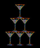 Tower of champagne glasses Royalty Free Stock Photos