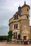 Tower of Chateau de Chenonceau on cloudy day. Beautiful medieval tower of Chateau de Chenonceau in Franceon cloudy day stock photography
