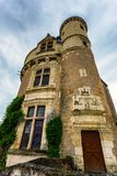 Tower of Chateau de Chenonceau on cloudy day. Bottom view beautiful medieval tower of Chateau de Chenonceau in Franceon cloudy day royalty free stock image