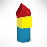 Tower of children wooden toys Stock Photos