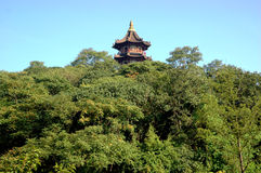 Tower in Chinese park. Traditional, wooden tower surrounded by green trees in Chinese park. Shaoxing city, Zhejiang province, China Stock Photo