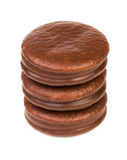 Tower from chocolate biscuit stuffed Royalty Free Stock Photo