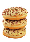 Tower of chocolate donuts Royalty Free Stock Images