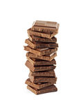 Tower from chocolate fragments Royalty Free Stock Photos