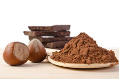 Tower from chocolate with nuts  and cacao powder Stock Photo