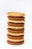 Tower of chocolate sandwich biscuits Stock Image