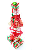 A tower of Christmas gifts Royalty Free Stock Photo
