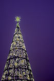 Tower christmas lights. In night Royalty Free Stock Photo