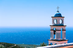 Tower of a Church above the sea Royalty Free Stock Photos