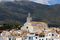 Tower of the church of Cadaques. In Spain royalty free stock photography
