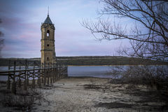 Tower church dams river Ebro Cantabria Spain Stock Image