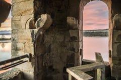 Tower church dams river Ebro Cantabria Spain. Church fallen in the river Ebro to his step along Cantabria Reinosa stock photos