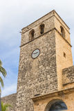 Tower of the church of Javea stock photo