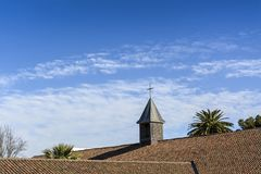 Tower of the church of an old hacienda in Chile. Stock Photos