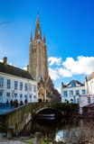Tower of the Church of Our Lady Bruges Stock Image