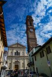 The tower of the church of San Maurizio Canavese. San Maurizio Canavese Piedmont Italy San Maurizio Canavese San Morissi in Piedmontese is an Italian town of 10 royalty free stock photo