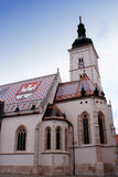 Tower of Church of St Mark in Zagreb Croatia Royalty Free Stock Images