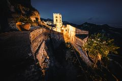Tower of Church of St. Nocolo at night in Savoca, Sicily, Italy. The place where Godfather movie were filmed.  royalty free stock photo