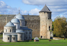 Tower and churches of Ivangorod fortress september day. Leningrad region Royalty Free Stock Images