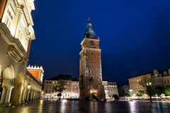 Tower of the city center in Krakow, Poland Royalty Free Stock Photos