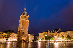 Tower of the city center in Krakow, Poland Stock Images