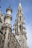 Tower of City Hall, Gran Place - Main Square, Brussels Stock Photos